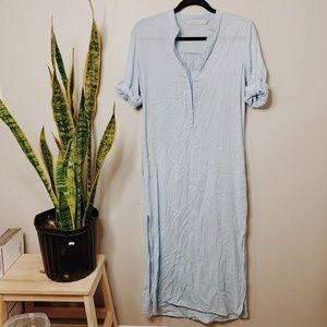 • ZARA  BASICS • light blue beachy maxi dress